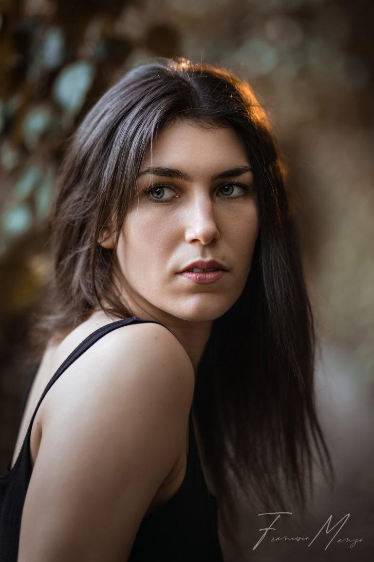brunette model outdoor portrait