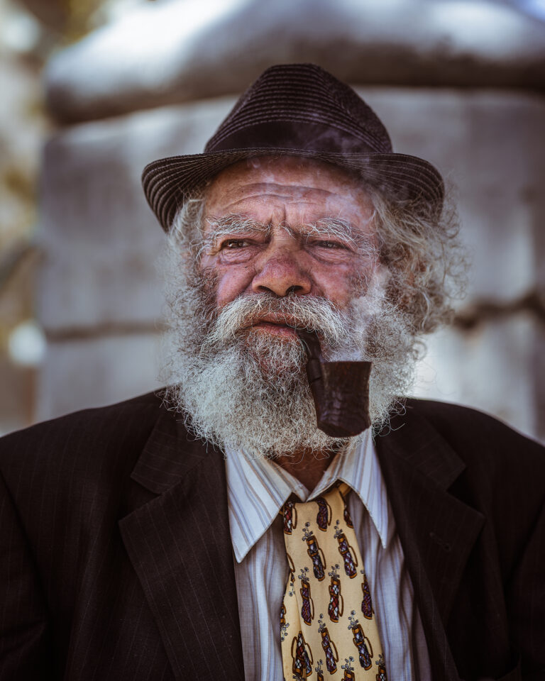old man smoking portrait outdoor