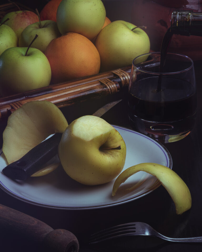 Still life photo with fruit and wine
