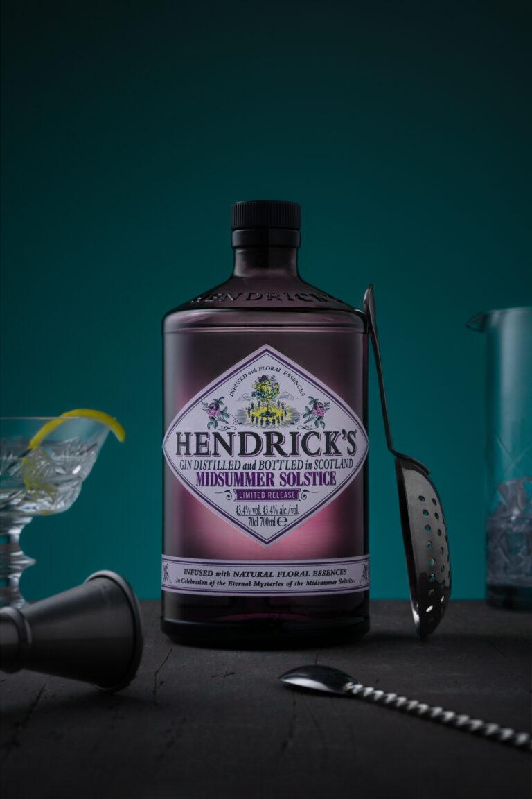 Hendricks gin bottle product photo