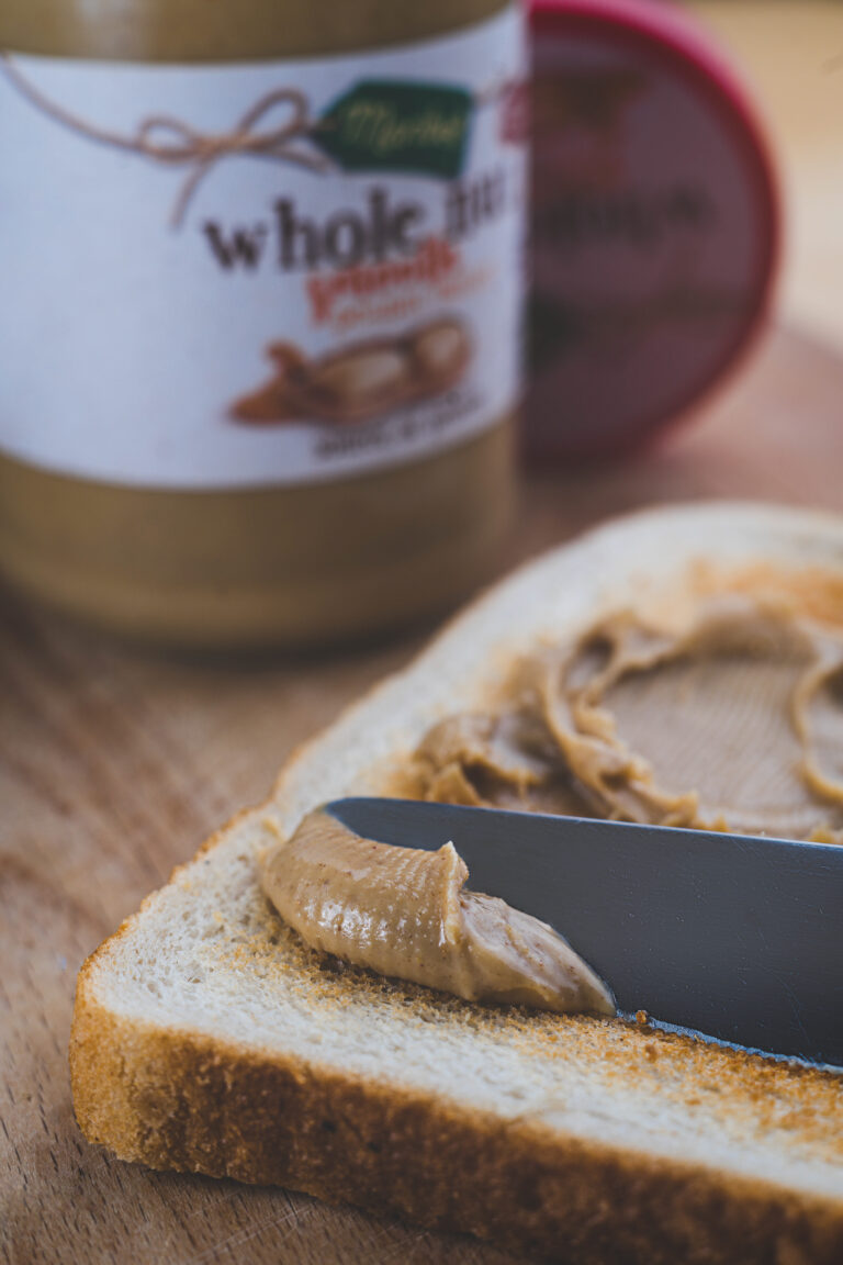 Peanut butter spread on toasts
