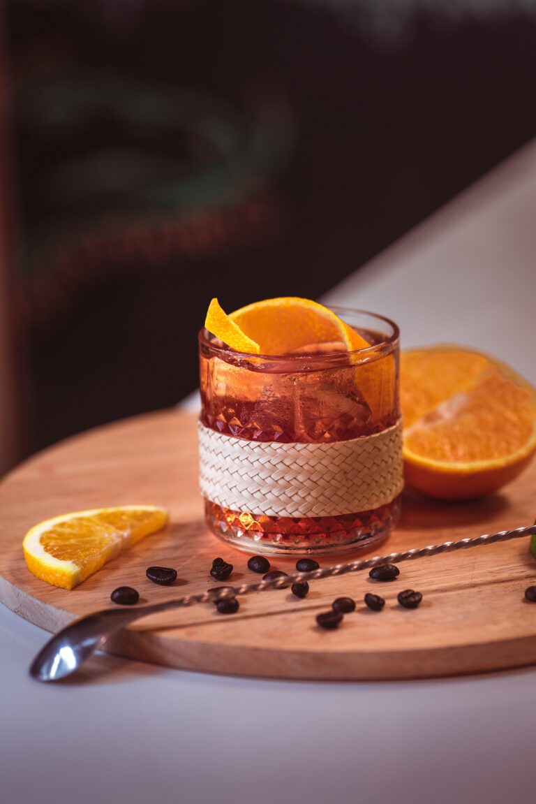 Whiskey cocktail, old fashioned with orange